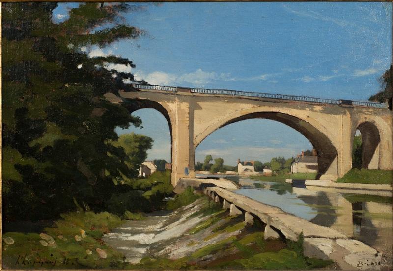 Железнодорожный мост в Бриар  печать на холсте, натянут Арпиньи Анри Жозеф - фото 1